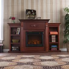 large picture of southern enterprises tennyson electric fireplace w bookcases classic mahogany fe8547
