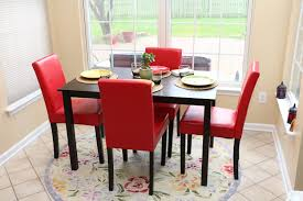 4 Person Kitchen Table Amazoncom 5 Pc Red Leather 4 Person Table And Chairs Red Dining