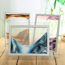 sand art picture moving sand glass home office desk table holder decor quicksand birthday gift