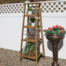 Cozy Four Tiered Ladder Style Teak Plant Zoom Four Tiered Ladder Style Teak Plant  Stand Outdoor