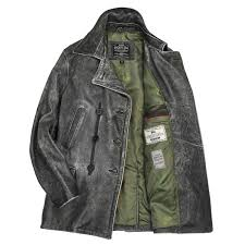 distressed leather peacoat by cockpit usa