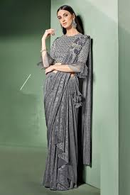 Grey Color Designer Blouse Embroidery Work On Grey Color Designer Ready To Wear One Minute Saree In Lycra Fabric With Admirable Blouse