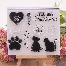 Paw Cute Dog <b>Cat</b> Fish Bone Heart <b>Transparent Clear Silicone</b> ...