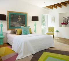 view in gallery exquisite bedroom with beautiful pops of color