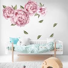 rose pink peony adesivo parede diy