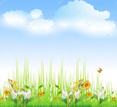 green grass blue sky flowers. Green Grass With Flowers And Blue Sky \u2014 Stock Vector L
