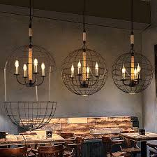 cage pendant lighting. LOFT Hemp Rope Vintage Ball Iron Cage Pendant Lights. American Country Globe Suspension Lamp Art Lighting G