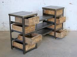 wood and iron furniture. angle iron display crates wood and furniture