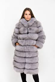 light grey long hooded fox fur coat