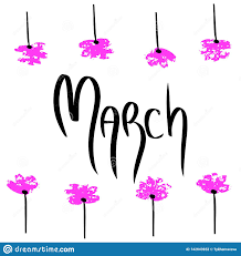 Frame For Word March Holiday Illustration With Black Word On White