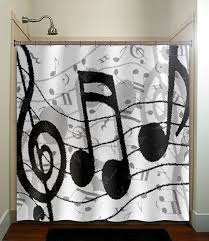 treble clef sheet music notes shower curtain