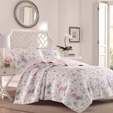 laura ashley breezy fl 2 piece grey twin quilt set
