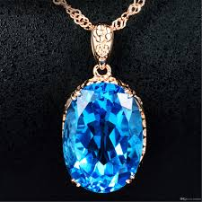 whole 2018 new hot top plated 18k gold topaz pendants swiss blue topaz crystal gem set women s necklaces silver bracelets silver chain from limuliu