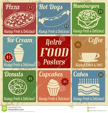 Vintage Food Labels Set Of Vintage Food Posters Stock Vector Illustration Of Lunch