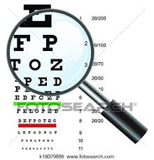 Eye Test Chart Use By Doctors And Loupe Vector Illustration