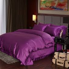100 cotton 60s sateen fabric solid plain color purple satin bedding set royal blue duvet