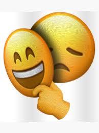 Emoji Sad Face Under Happy Mask Poster