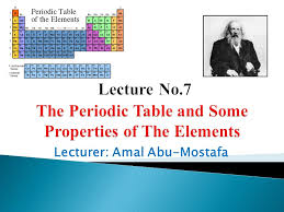 Lecture No.7 The Periodic Table and Some Properties of The ...