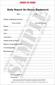 Inspection Form Heavy Equipment Inspection Checklist Daily Report Service Record