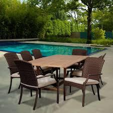 ia mason 9 piece teak extendable rectangular patio dining set with off white cushions