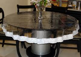 70 diameter clear transpa with lace border round table cover