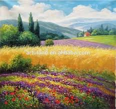 natural scenery most beautiful purple field oil paintings
