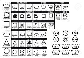 繊維取扱表示ラベルと洗濯の洗浄のシンボル セット