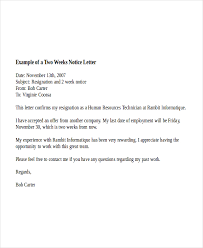Two Week Notice Letter Example1