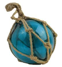 8 turquoise glass float in net 21 95