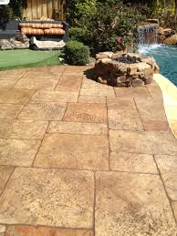 Decorative Concrete Overlay Pool Deck Resurfaced With A Stamped Concrete Overlay Sundek Of