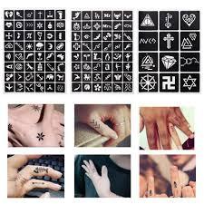 1 Sheet 4812 Maps Glitter Tattoo Stencil Flower Geometry Drawing Templates Airbrush Women Kids Small Henna Tattoos 242097