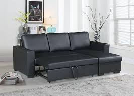 poundex f6890 2 pc everly black faux leather sectional sofa set pull out sleep area