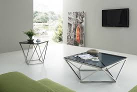 modrest vector modern smoked glass stainless steel coffee table