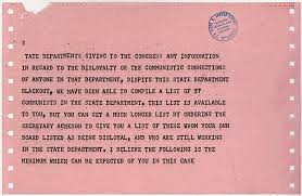 telegram from senator joseph mccarthy to president harry s truman the documents