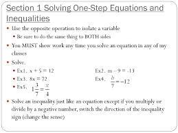 section 1 solving one step equations and inequalities use the opposite operation to isolate a