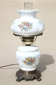 antique glass lamps vintage milk glass lamp puffy rose w roses lampshade lighted base antique glass