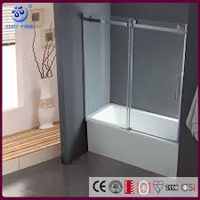 frameless sliding tub door fits 56 58 5 inch opening clear glass chrome