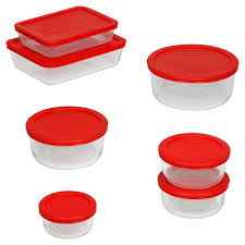 pyrex simply 14 piece glass storage set with red lids