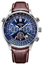 rotary watches official uk retailer first class watches rotary gents chronograph blue dial brown leather strap gs00699 05