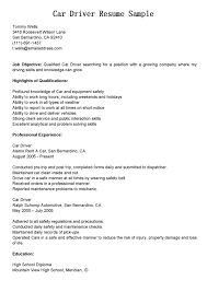 Resume Format For Driver Resume For Your Job Application