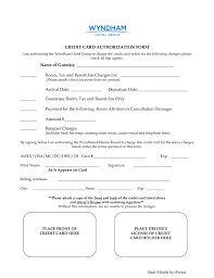 cc auth form free wyndham hotels credit card authorization form word pdf