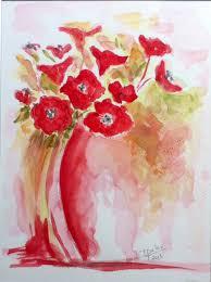 Coquelicots En Bouquet R Alis A L Aquarelle 24x32