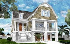 shingle style house plans. Gambrel-Roofed Shingle Style House Plan - 15039NC Thumb 01 Plans S