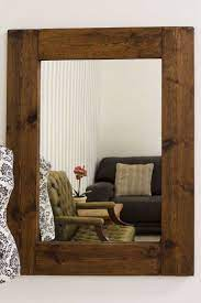 natural solid wood brown wall mirror