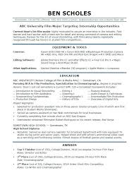 Top Resume Sample Sample Resume For A Film Industry Internship Top