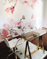 Glass desk for office Diy Glam Trestle Desk With Brass Legs And Glass Tabletop And Matching Brass And Neginegolestan 29 Edgy Glass Desks For Modern Home Offices Digsdigs