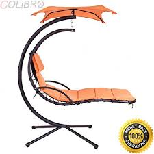 hanging lounge chair.  Chair COLIBROXHanging Chaise Lounge Chair Arc Stand Air Porch Swing Hammock  Canopy New On Hanging A