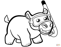 Cute Baby Hippo With Snorkel Coloring Page Free Printable Coloring