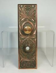 m antique ornate bronze leaves door backplate w doorbell vtg hardware