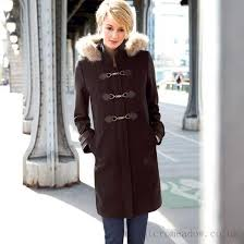 welcomed most womens wool duffle coat with hood and faux fur trim laura clement into the larger image